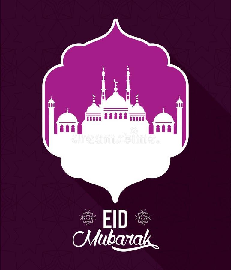 Eid mubarak design med moskékonturn royaltyfri illustrationer