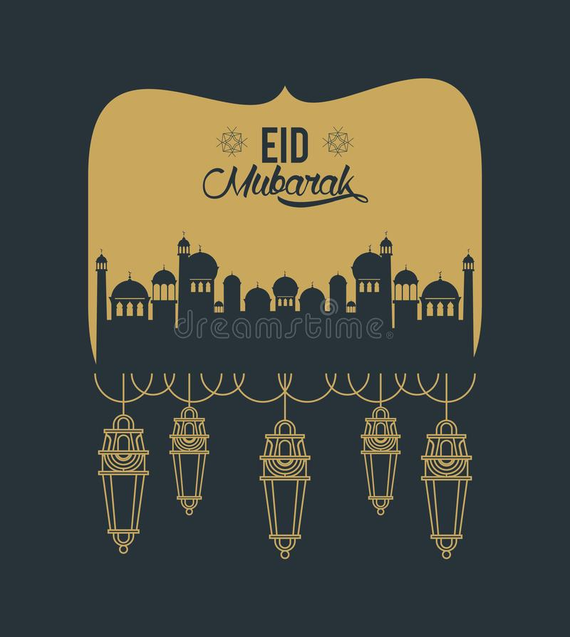 Eid mubarak design med mosk?konturn stock illustrationer