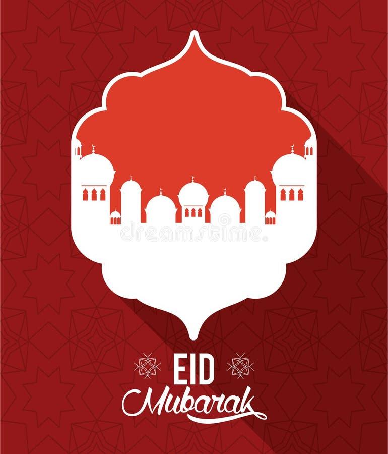 Eid mubarak design med mosk?konturn royaltyfri illustrationer