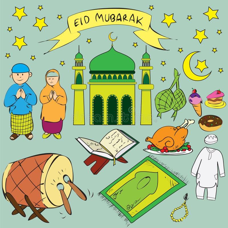 Eid Mubarak Doodle ilustração stock