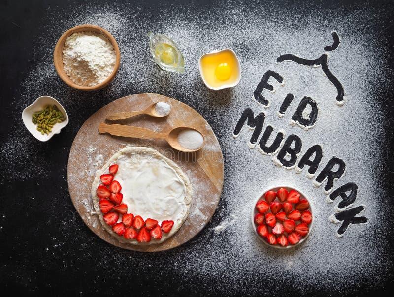 Eid Mubarak - ` för ferie för islamisk ` för ferievälkomnandeuttryck lycklig, reserverat hälsa Arabisk kokkonstbakgrund fotografering för bildbyråer