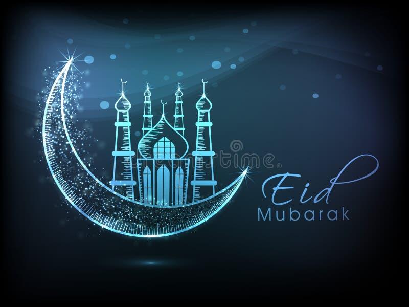 Eid Mubarak-Feier mit kreativer Illustration stock abbildung