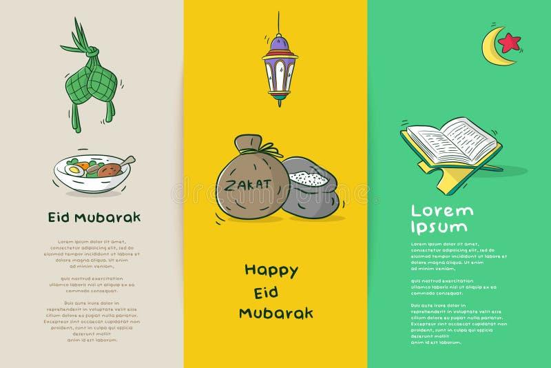 Eid Mubarak feliz stock de ilustración