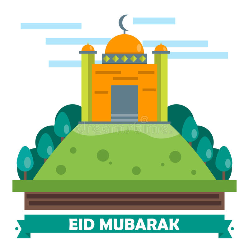 Download Eid Mubarak Flat Design Card Illustrazione Vettoriale - Illustrazione di preghiera, islamico: 55358498