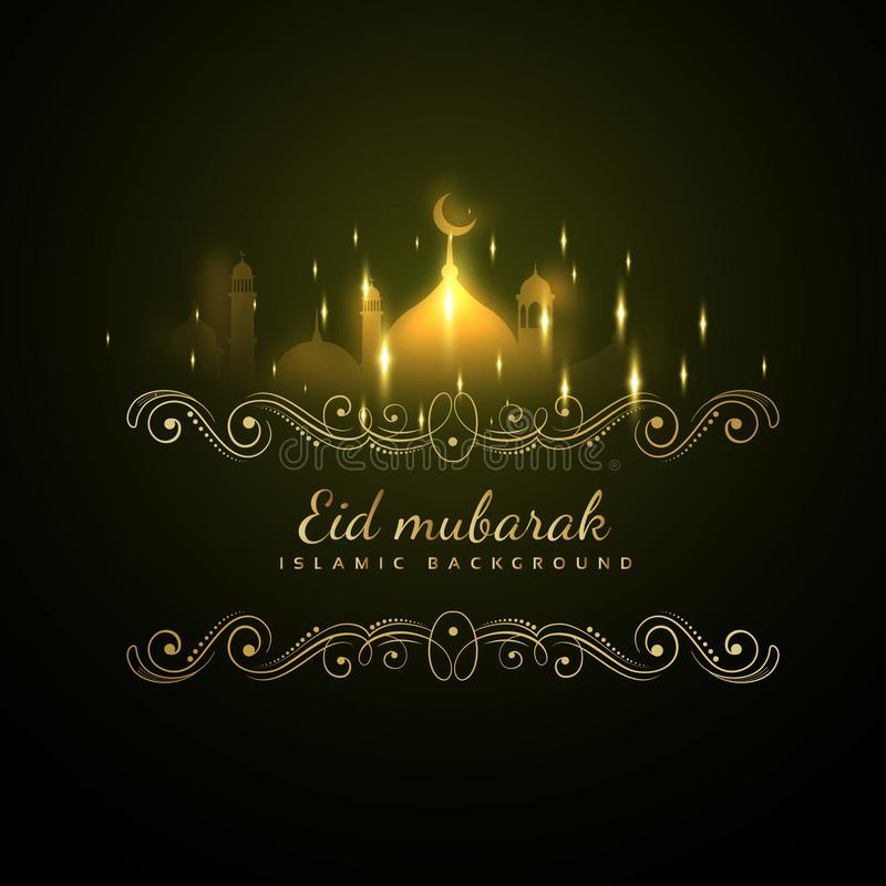 Eid mubarak glowing background with sparkles. Vector royalty free illustration