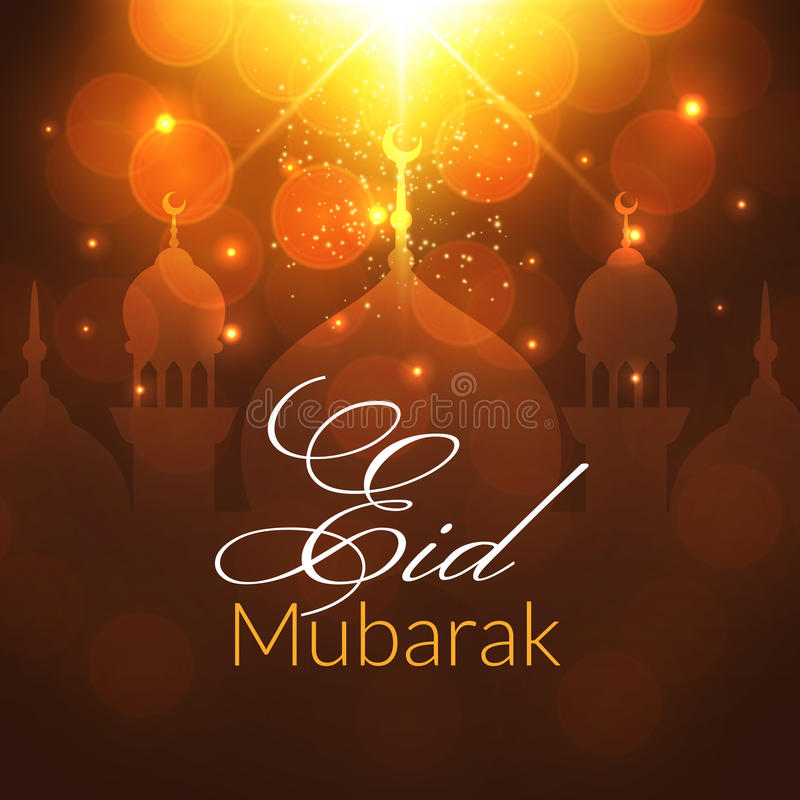 Eid Mubarak Greeting Card met moskee stock illustratie