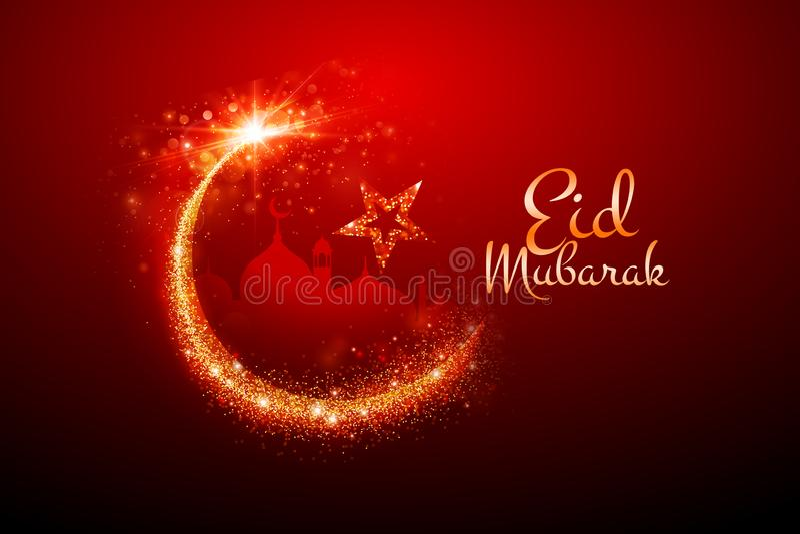 Eid Mubarak Greetings med brusandemånen fotografering för bildbyråer