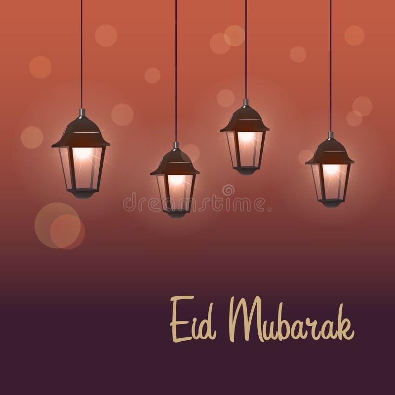 Eid Mubarak-groet op vage achtergrond royalty-vrije illustratie