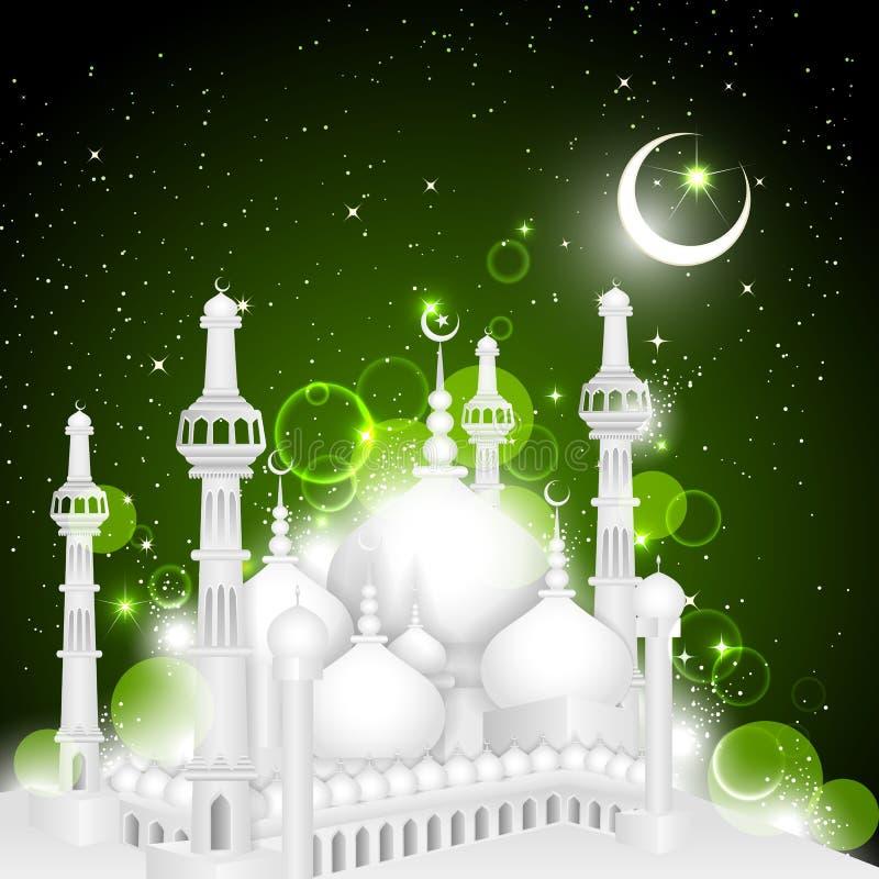 Eid Mubarak-Hintergrund mit islamischer Moschee vektor abbildung
