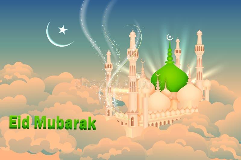 Eid Mubarak-Hintergrund mit islamischer Moschee stock abbildung
