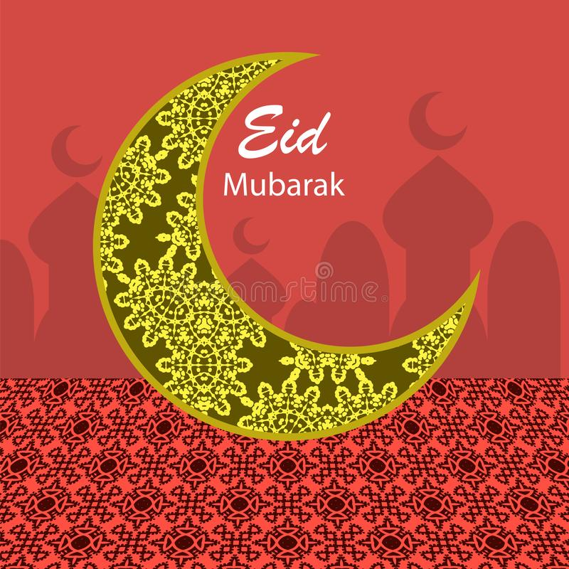 Eid Mubarak Islamic Design feliz Lua dos muçulmanos da gravura ilustração royalty free