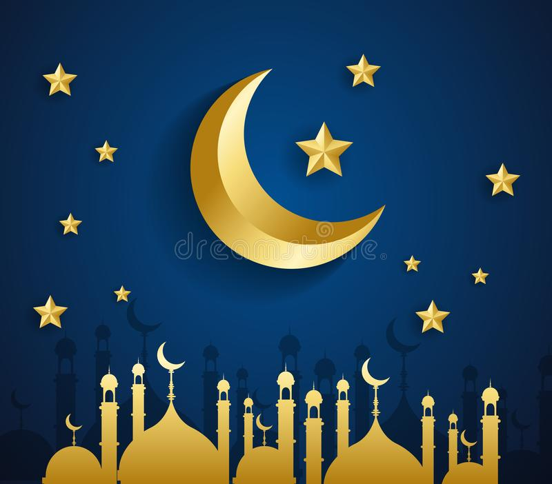 Eid Mubarak Islamic template Mubarak for muslim people. royalty free stock photography