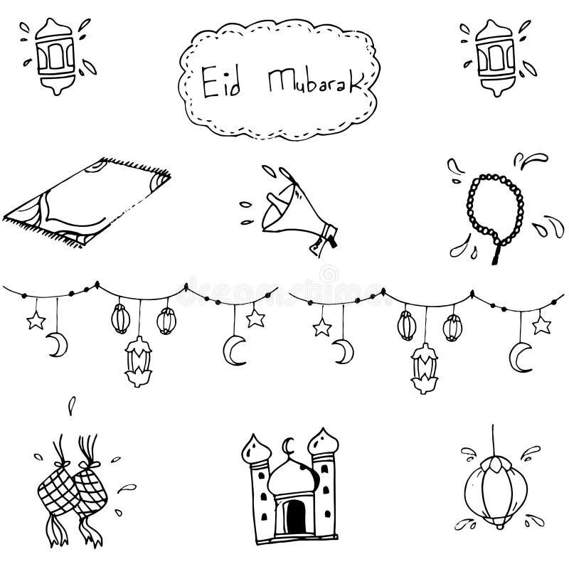 Eid Mubarak islamico nello scarabocchio illustrazione di stock