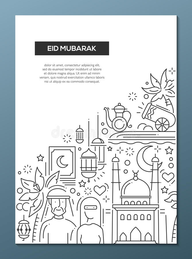 Eid Mubarak - line design brochure poster template A4 vector illustration