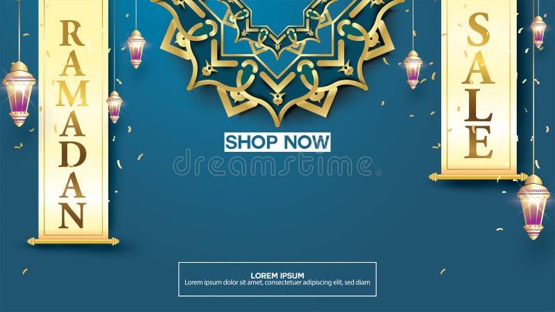 Eid Mubarak lub Ramadan kareem sztandaru sprzedaży szablon i tło Odbitkowa przestrzeń dla dyskontowego etykietki lub zawartości p ilustracji
