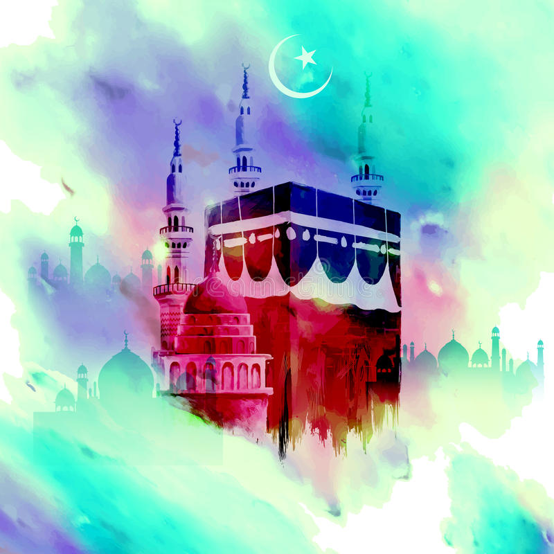 Eid Mubarak (lyckliga Eid) bakgrund med Kaaba stock illustrationer