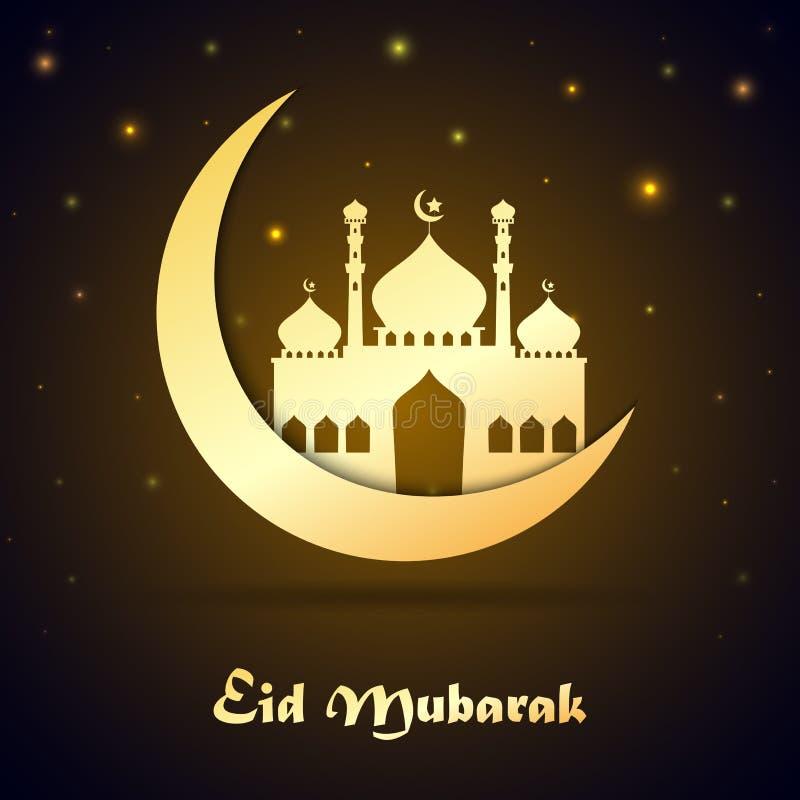 Eid Mubarak met moskee over toenemende maan royalty-vrije illustratie