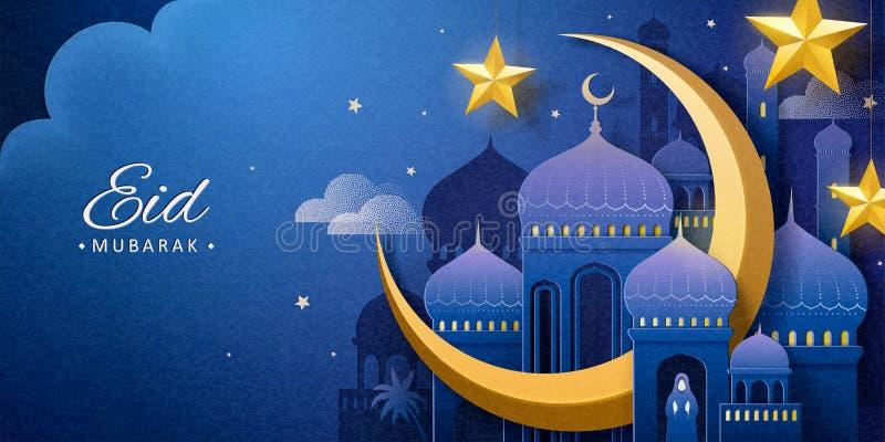 Eid Mubarak-nachtmoskee stock illustratie