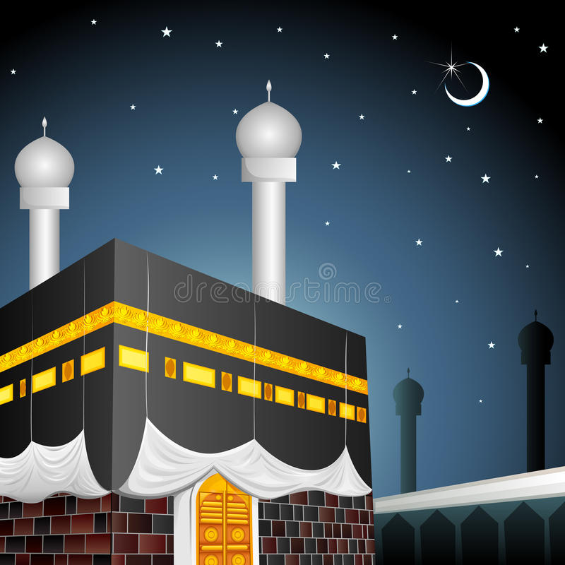 Eid Mubarak (que abençoa FO Eid) com Kaaba ilustração royalty free