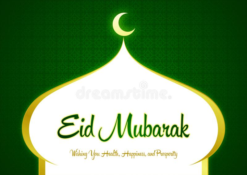 Eid Mubarak and Ramadan Green Greeting Card with Wishes vector illustration