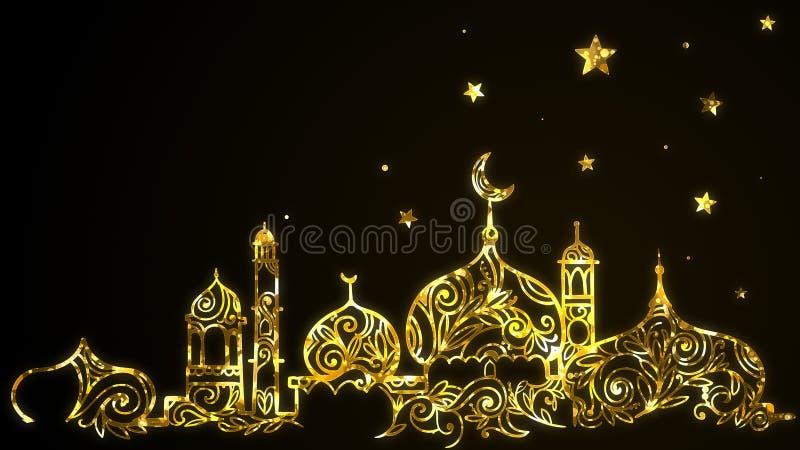 Eid Mubarak Ramadan Kareem islámico con la mezquita del oro, luna creciente, protagoniza el fondo ilustración del vector