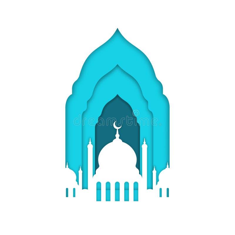 Eid Mubarak, Ramadan Kareem Islamitische groetkaart, bannermalplaatje Moskee met maan die op witte achtergrond wordt geïsoleerd stock illustratie