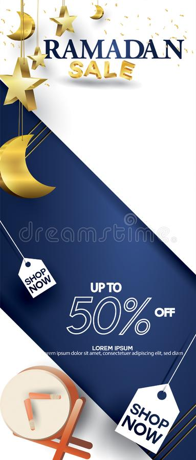 Eid Mubarak or ramadan kareem for roll banner, x banner, or roll up banner sale background and template. Copy space for discount vector illustration