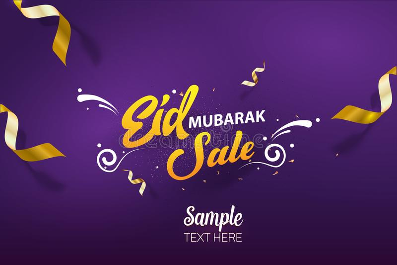 Eid Mubarak Sale poster background vector template design stock illustration
