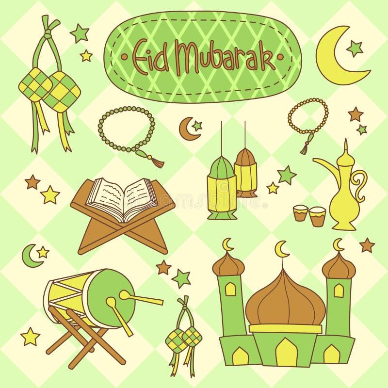 Eid Mubarak Set illustrazione di stock