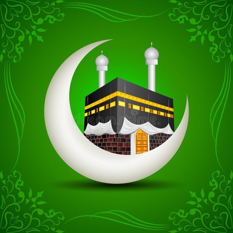 Eid Mubarak (som välsignar fo Eid) med Kaaba på månen royaltyfri illustrationer