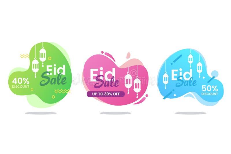 Eid Mubarak sprzedaży sztandaru ciekły set ilustracja wektor