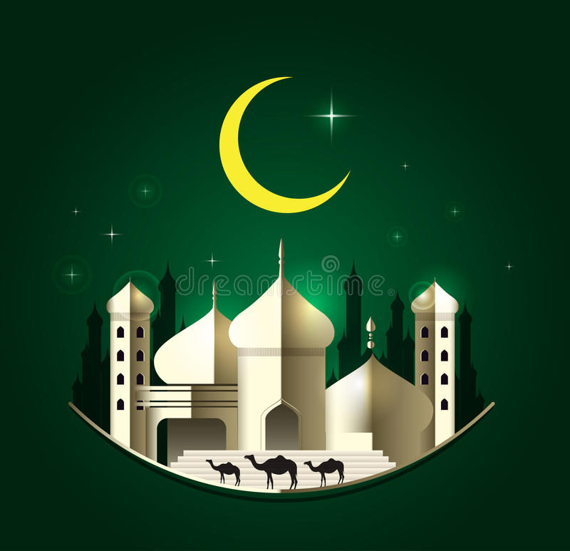 Eid Mubarak su fondo verde Illustrazione di vettore royalty illustrazione gratis