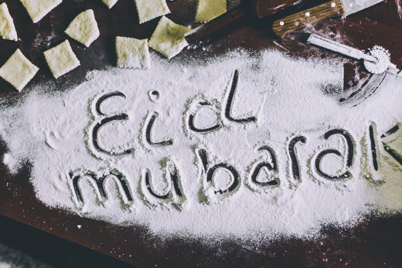 Eid Mubarak uttryck royaltyfria bilder
