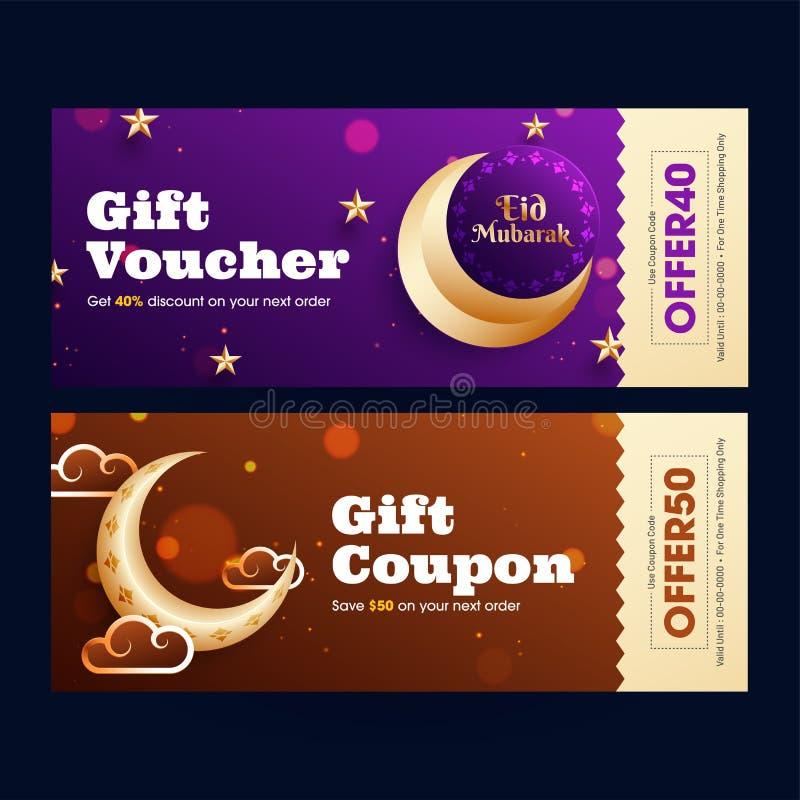 Eid Mubarak-van de giftbon of coupon ontwerp met beste aanbiedingen en gouden toenemende maan royalty-vrije illustratie