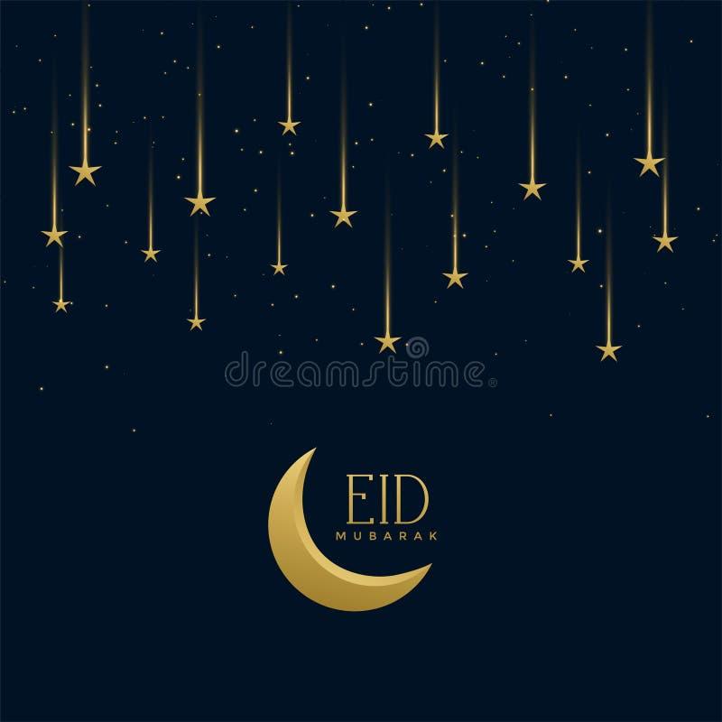 Eid Mubarak wakacyjny powitanie z spada gwiazdami ilustracja wektor