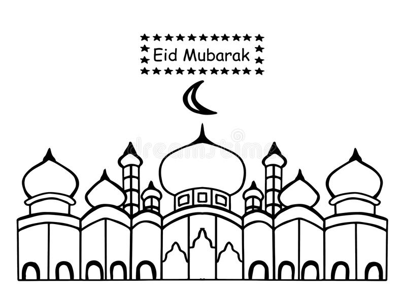 Eid Mubarak z meczetowym używa doodle stylem, ręka rysunek royalty ilustracja