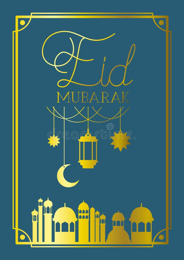 Eid mubaray frame with mosque and lamps ,moon hanging stock illustration
