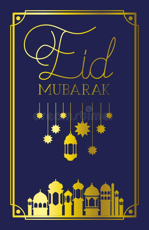 Eid mubaray frame with mosque and lamps ,stars hanging vector illustration