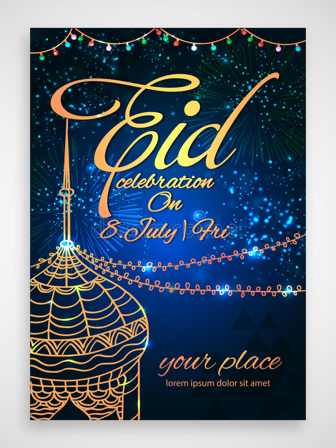Eid Party Celebration Flyer Or Invitation Card. Stock Illustration ...