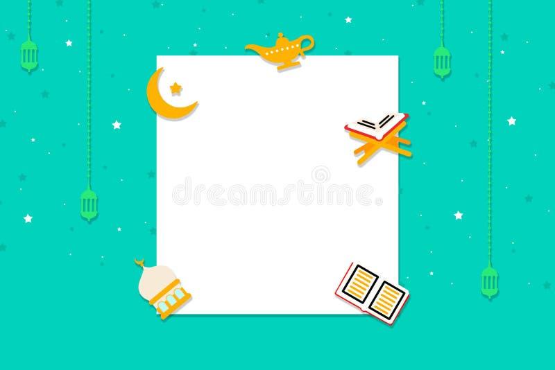 Eid pojęcia sztandar z śpiewa ikony i białego kwadrata ramę ilustracja Ul eid Mubarak royalty ilustracja