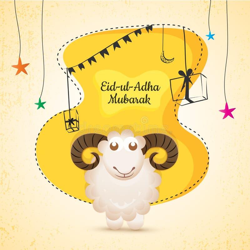 Eid-UL-Adha, festival islamico del sacrificio con l'illustrazione di illustrazione vettoriale
