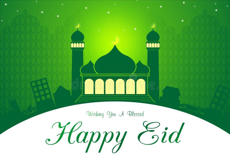 Eid verde e Ramadan Greeting Card Illustration Ready da usare illustrazione di stock