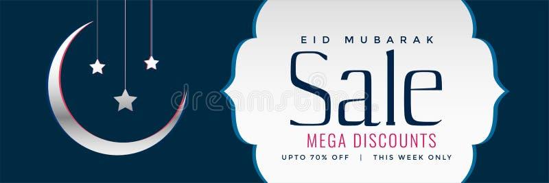 Eid-Verkaufsnetzfahnen- oder -titeldesign mit sichelförmigem Mond vektor abbildung