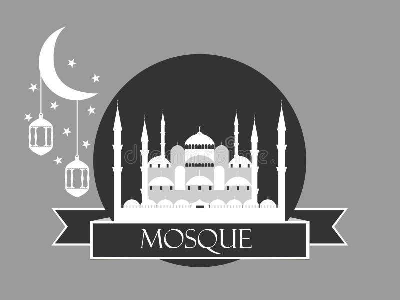 Eidal adha, blauwe moskee, minaret, lantaarn en maan, moslimvakantielichten op een witte achtergrond vector illustratie
