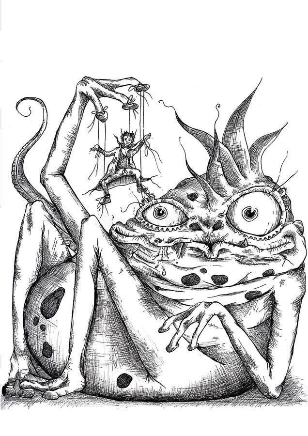 Eidechse und Marionette lizenzfreie stockbilder