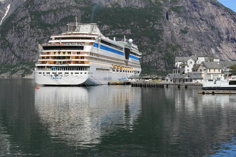 Aida Cruises. EIDFJORD, NORWAY - JULY 17, 2015: AIDAsol cruise ship in Norway. AIDA sol was built by Meier Werft in 2011. It can carry 2,174 passengers and is stock image