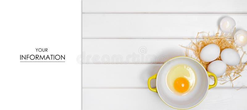 Eidotter in einem Plattenmuster stockfotografie
