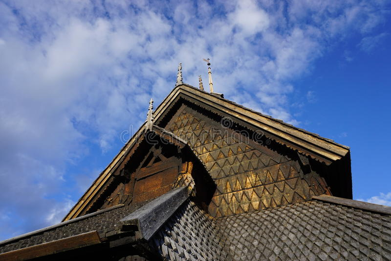 Eidsborg stave church roof. Norwegian stave church from about 1250 in Telemark county royalty free stock photos