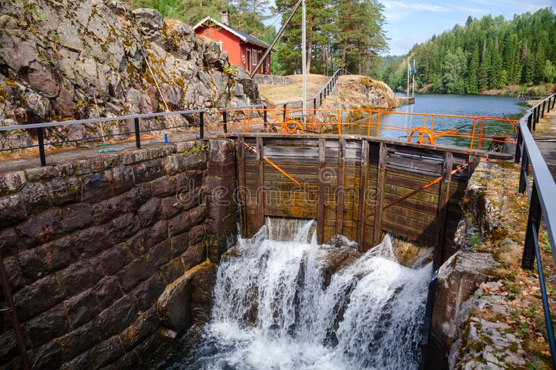 Eidsfoss lock Telemark Canal Telemark Norway. Eidsfoss lock on the Telemark Canal that connects Skien to Dalen in Telemark County, Norway stock photography