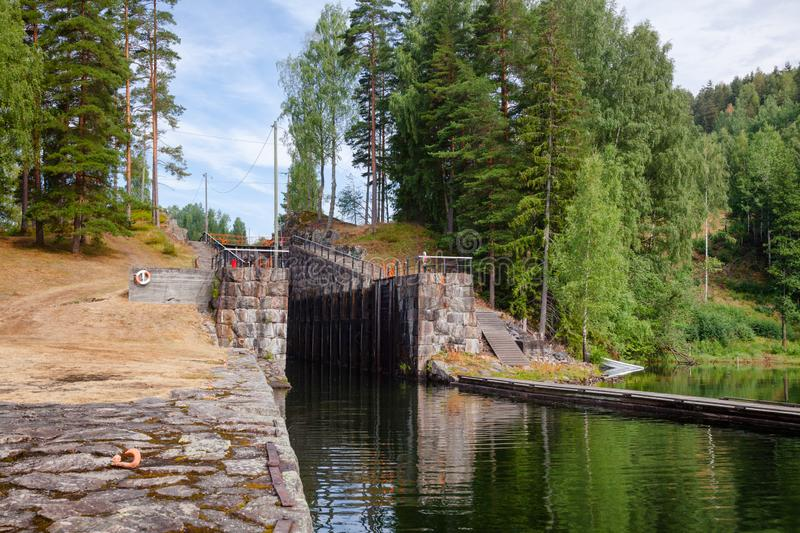 Eidsfoss lock Telemark Canal Telemark Norway. Eidsfoss lock on the Telemark Canal that connects Skien to Dalen in Telemark County, Norway stock images